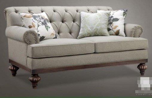 古典實木拉扣三人沙發