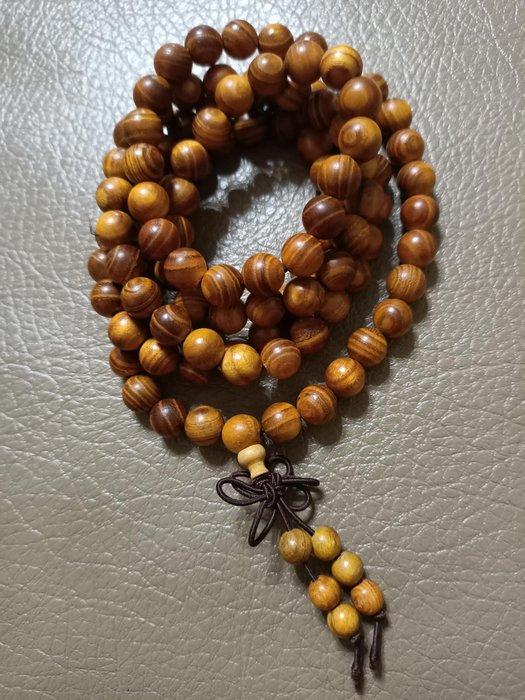 黃金檀木念珠手串木飾手珠 佛珠 108顆念珠 風水開運擺件掛件飾品 時尚男女款招財辟邪