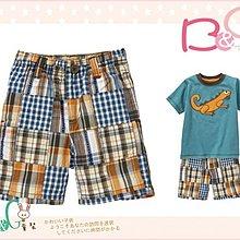 【B& G童裝】正品美國進口GYMBOREE 咖啡藍格子拼布短褲12-18-24mos