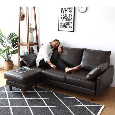 L型沙發【179購物中心】日系東京時尚獨立筒L型沙發-皮革沙發191cm-可變3人座+腳椅-黑色