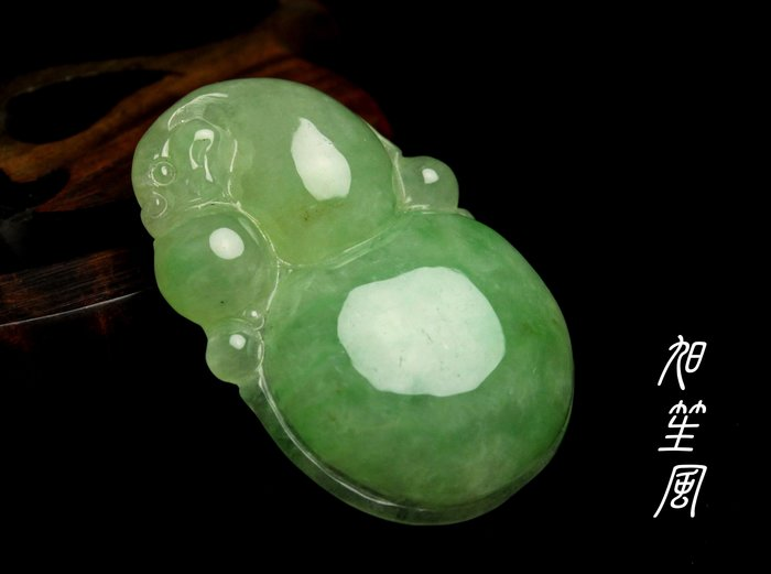【旭笙風】天然A貨翡翠冰綠墜「福祿」驚喜特價