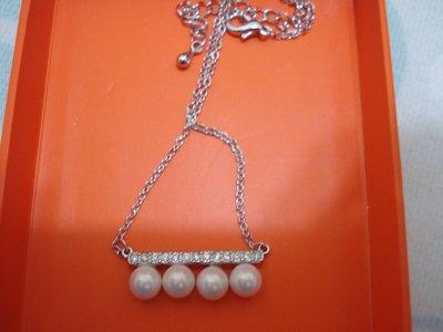 韓國流行飾品一字形珍珠鑲鑽銀色項鍊(anna sui/mikimoto/tasaki/Agatha