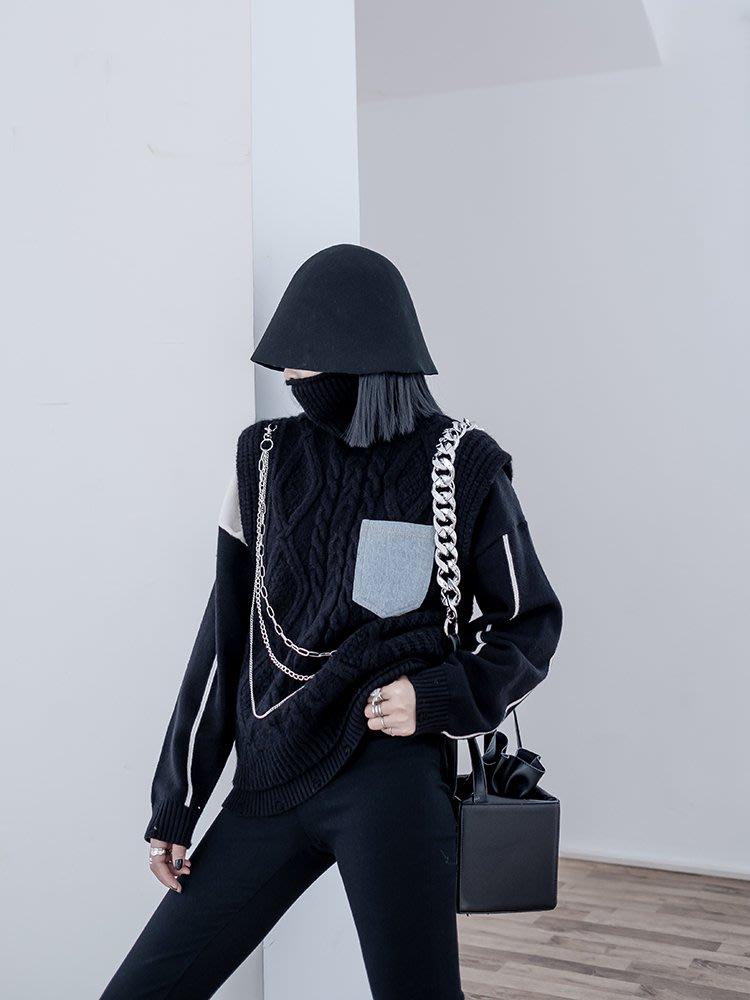【鈷藍家】暗黑哲學原創慵懶風高領針織背心鏈條馬甲背心毛衣高街設計感不規則麻花針織衫cs