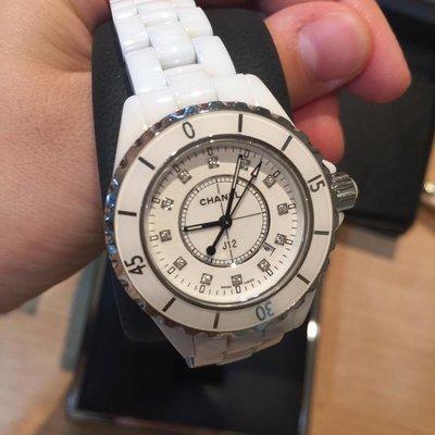 Chanel 真品白色33Mm點鑽J12陶瓷錶