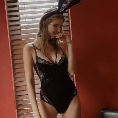 情趣內衣 角色扮演 兔兒乖乖 絲絨性感蕾絲兔女郎兔子裝情趣內衣制服誘惑連體兔耳朵