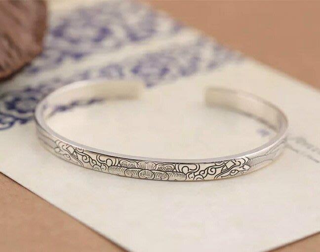 嗨,寶貝銀飾珠寶* 925純銀飾品☆原創純手工設計 時尚 雙龍戲珠純銀開口實心手環 手鐲
