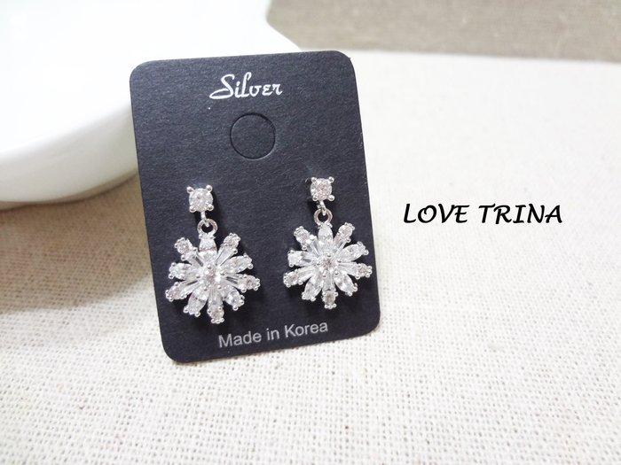 【Love Trina】H2418-8163。 925銀針。典雅鋯石雪花耳針式耳環--銀針(1色)