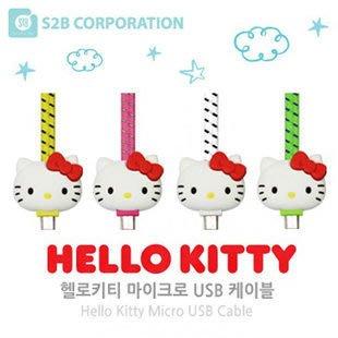 TOUCH-KR 正韓 Hello Kitty 防斷裂織布扁線 Micro 5 pin 充電線 傳輸線│一米│b3811