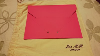 Jas MB Recycled Leather Clutch in Neon Pink 螢光 粉紅 手拿包