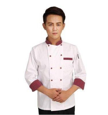 【優上】透氣酒店廚師長長袖工作服七分袖中袖秋冬裝「白色紅條領」