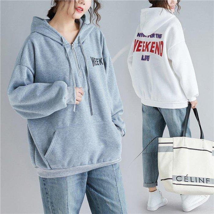 ☆中大碼 [吉米花] B-047743 加絨字母印花連帽衛衣t恤 ( 灰色 2XL ) 現貨