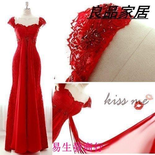【易生發商行】紅色綁帶新娘 伴娘婚紗結婚敬酒婚禮晚裝 禮服 旗袍長F5949