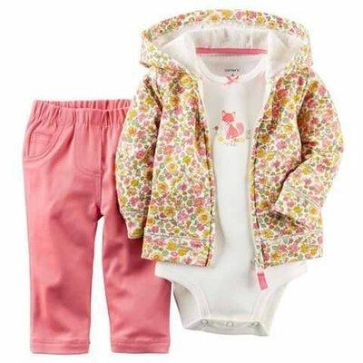 【USA美國精品時尚小舖】Carters 卡特 美國正品 女寶寶短袖包屁衣+長褲+美麗碎花連帽外套 三件組套裝