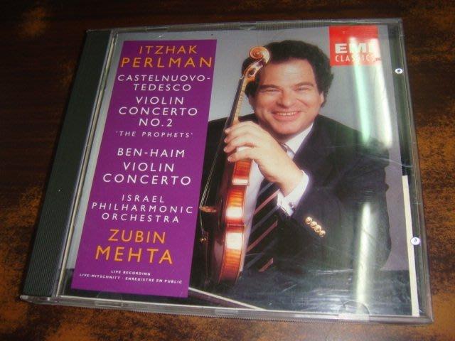 好音悅 Perlman 帕爾曼 Castelnuovo-Tedesco Ben-Haim 小提琴協奏曲 EMI 德A1版