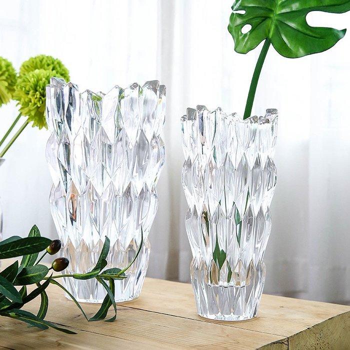 北歐風菱鏡水晶玻璃透明插花花瓶客廳干花花器歐式家居裝飾品擺件