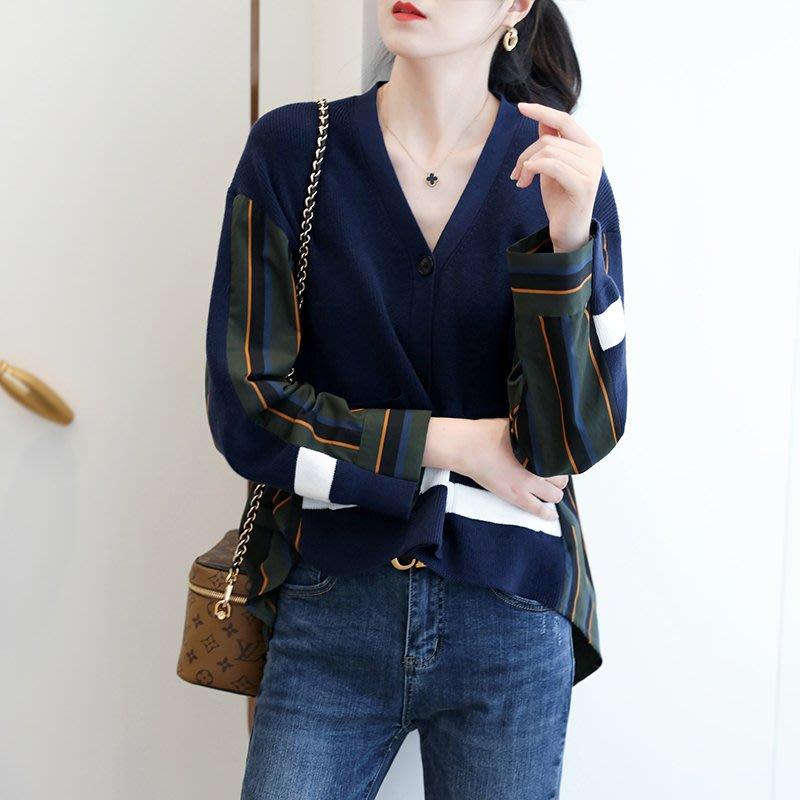 『Alice❤愛麗絲』,秋季女裝新款,造型感異料拼接V領豎條開衫襯衫女