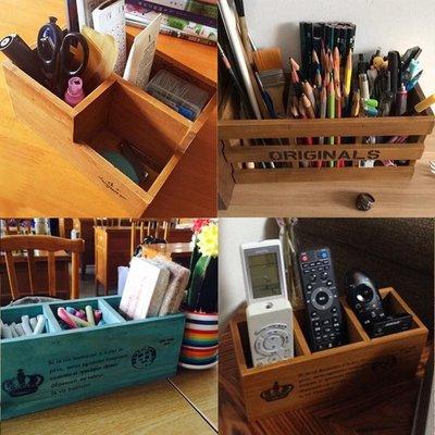 桌上收納 置物架zakka復古辦公桌面小木盒 木質收納盒筆筒 多 實木遙控器盒子