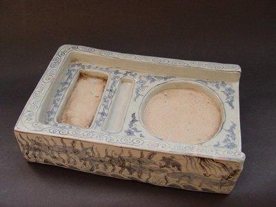 鼎尹居家藏古文物 - 天啟元年題字款青花魚藻圖瓷硯