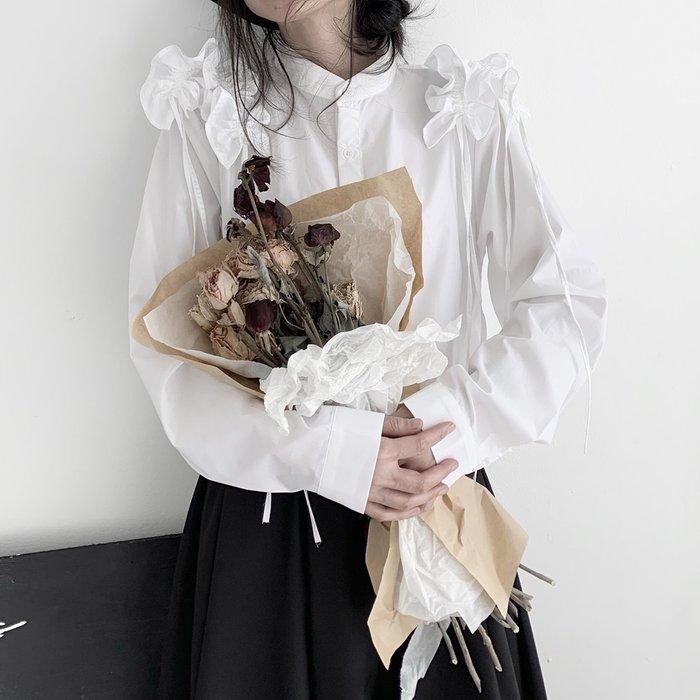 ||一品著衣|| 山本風暗黑小眾設計感中世紀風yohji肩膀褶皺木耳邊花邊長袖襯衫 YM