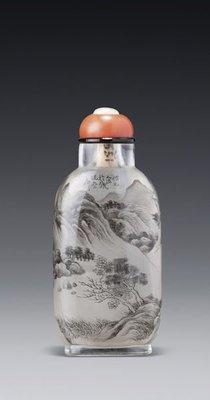 約1897-1900年 玻璃內畫「泛舟觀瀑」圖鼻煙壺丁二仲畫  《仿元人法於鐵硯齋,二仲》