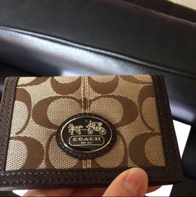 全新購約美國專櫃 Coach 咖啡織布卡夾