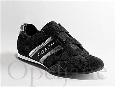 Coach Shoes 黑色自黏無鞋帶休閒鞋布鞋慢跑鞋走路鞋7 號 24 號 免運費 愛Coach包包