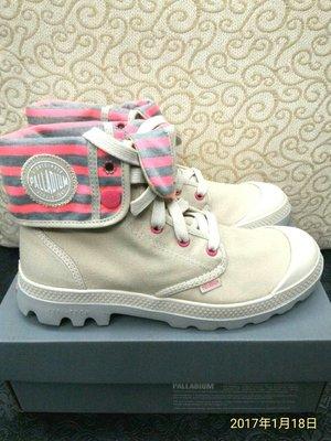 Palladium [全新] BAGGY LITE CVS 淺卡其/螢粉 條紋水洗布 反折 女靴