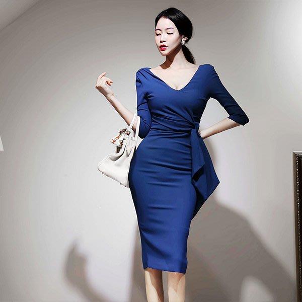 東大門專業代購 正韓國空運 簡約素色V領腰間綁繩七分袖及膝禮服洋裝【9AUG-28875130】