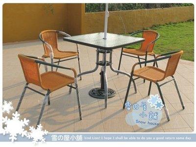 ╭☆雪之屋小舖☆╯@店長嚴選@戶外休閒桌椅一方桌+四藤椅~A級品椅子近4公斤