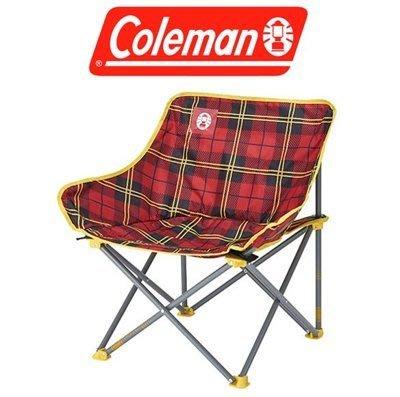 【山野賣客】美國Coleman CM-24761輕鬆椅(紅格子花) 月亮椅 盤腿椅 低腳椅