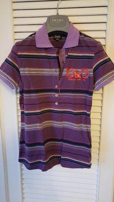 全新【DOLCE&GABBANA】【D&G】紫色水鑽七彩條紋短袖POLO衫