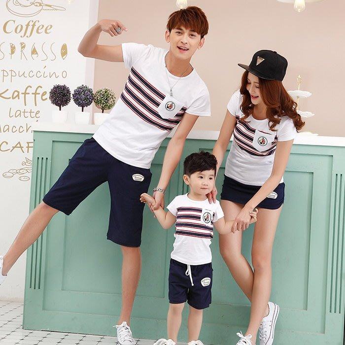 【甜蜜蜜親子童裝】韓版 XJ-S8901《海錨徽章款》短袖親子裝♥情侶裝