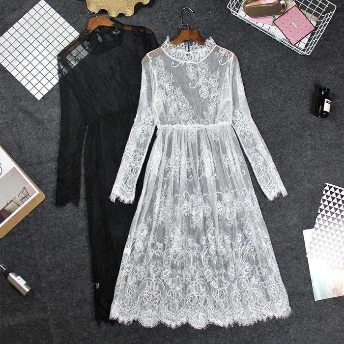 [C.M.平價精品館]M、L/清新有型蕾絲網紗面料無袖長版洋裝