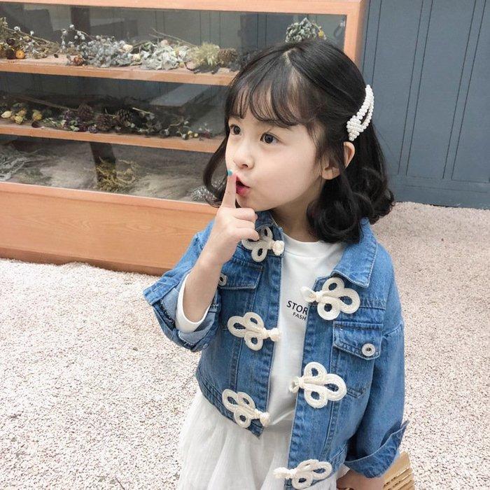 •*~ 辣媽咪衣飾小舖 ~*•❤童裝系列 📣X340233韓版可愛萌款美翻洋氣短版牛仔外套