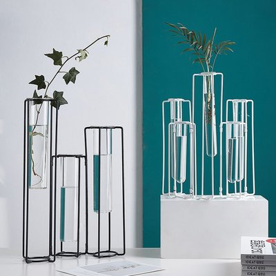 〖洋碼頭〗北歐鐵藝透明玻璃花瓶裝飾品家居客廳簡約現代仿真花水培植物擺件 fjs963
