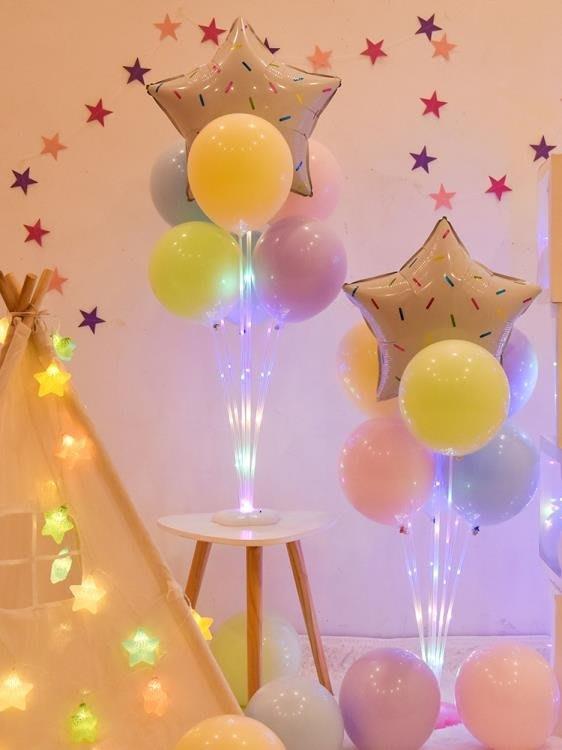 氣球 兒童寶寶生日裝飾場景布置派對會場發光立柱桌飄氣球支架透明底座 「花語夢」