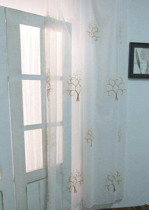 [W082]窗簾 窗紗  No.455刺繡樹枝紗  特價出清  無接縫紗 童趣 兒童 森林
