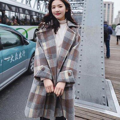 長大衣外套  赫本風 精選質感 修飾廓型設計 加厚毛呢格紋大衣 艾爾莎【TAE8657】