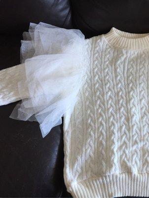 韓衣,白毛衣,麻花圖案,加紗袖