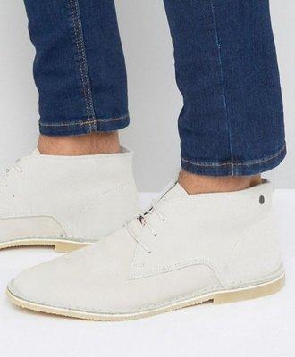 ◎美國代買◎ASOS代買方楦頭鞋帶設計短高筒奶油白方楦頭鞋帶白色短筒皮鞋~歐美街風~大尺碼~