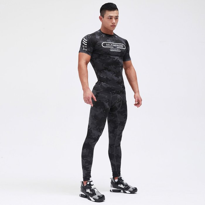 【OTOKO Men's Boutique】固制:有種部隊迷彩緊身訓練長褲/黑色迷彩