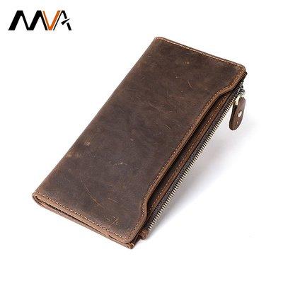 跨境專供真皮錢包錢夾復古瘋馬皮男士皮夾長款錢包外貿8205