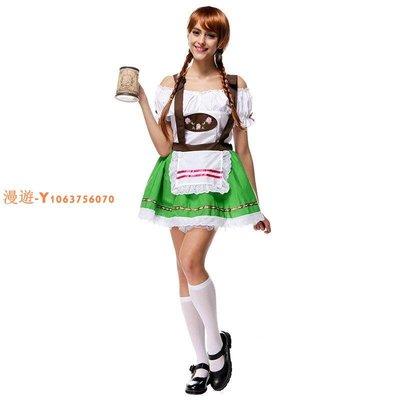 吊帶裙綠色女啤酒服成人啤酒節服裝 萬聖節出口遊戲制服誘惑現貨A725