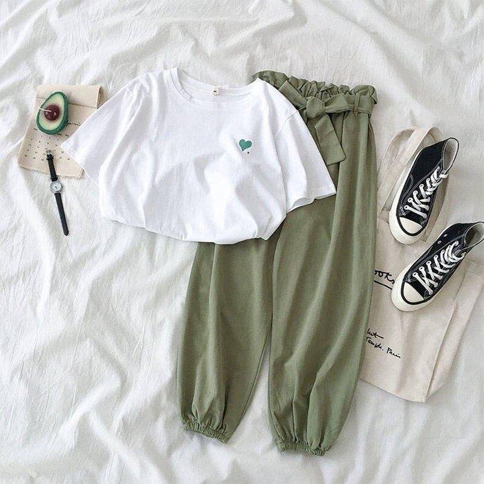 套裝女夏褲子女學生韓版寬鬆顯瘦九分哈倫休閒褲+T恤兩件套閨蜜裝