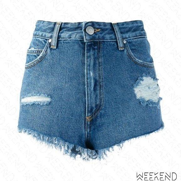 【WEEKEND】 DON'T CRY 破壞 不修邊 牛仔 短褲 熱褲 藍色