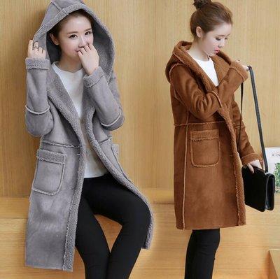 大衣 連帽外套 韓版時尚加絨加厚連帽棉衣 鹿皮絨羊羔絨外套 中長款外套—莎芭