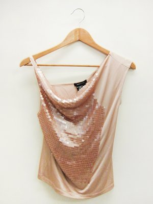 【二次時尚】*BOBGMAXAZRIA BCBG 真品*亮片 粉橘上衣 (吊牌尚在)