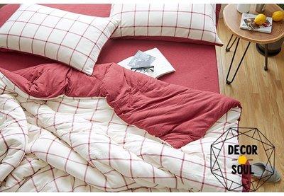 DS北歐家飾§2018方格紋日式天竺棉四件式床組被套床包 新年紅色 單人可升級雙人加大 美式鄉村寢具質感裸睡幼兒親膚春夏