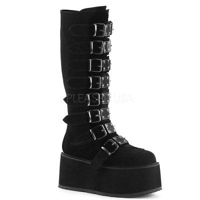 Shoes InStyle《三吋》美國品牌 DEMONIA 原廠正品龐克歌德絲絨金屬板厚底楔型及膝馬靴 有大尺碼『黑色』