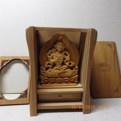 紫晶宮**精品隨身佛龕黃楊木金剛薩崜木雕佛像**盒子10.8釐米*7.6釐米*5.2釐米